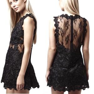 TOPSHOP Floral Lace Illusion Sheer Back Dress